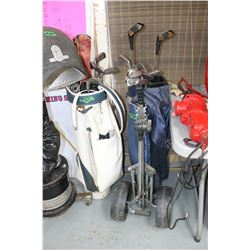 2 Golf Bags with Right-Handed Clubs in Each & 1 Golf Cart   ***Please Pick Up