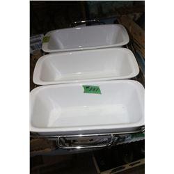 Set of (3) Ceramic Chafing Pans