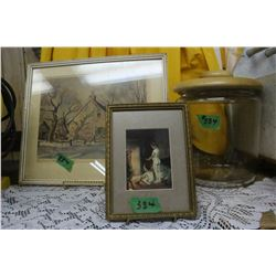 2 Pictures & a Glass Cannister with Wooden Lid