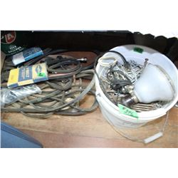 Box with V Belts; a Pail of Assorted Common Nails & a Spotlight   ***Heavy