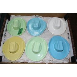 Flat of 6 Pottery Stetson Hat Ashtrays - Made in Medicine Hat, Ab.