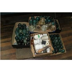 9 Flats of Insulators - Glass & Porcelain - Varying Sizes & Colours  ***MUST be Picked up - Heavy