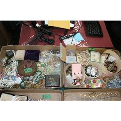 2 Flats of Assorted Costume Jewelry - Imitation Pearls; Bracelets; Necklaces, Beads, etc.