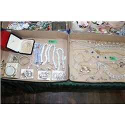2 Flats of Assorted Costume Jewelry - Cuff Links, Rhinestone Necklaces, Earrings, etc.