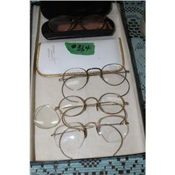 4 prs of Eye Glasses - (3 prs are Gold Framed) - (1 pr - the Frame is in Poor Condition)