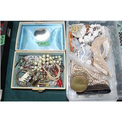 2 Boxes of Costume Jewelry - Beaded, Rhinestones