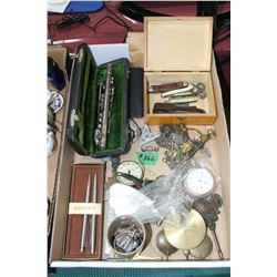 Flat of Parts & Pieces of Pocket Watches, Pendulums, Watch Fobs, Bolo Tie Clips, Watch Chains, Sm Po