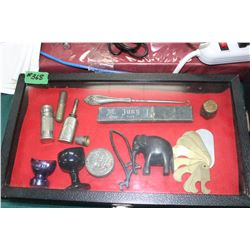 Flat with Mr. Jung Straight Razor; a Boot Hook; Rope Measure; Sm. Elephant; Kidney Pill Tin; 2 Eye C