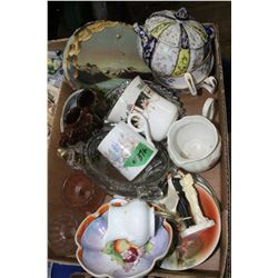 Box with Assorted Glass Ware, Dishes & Candle Holders