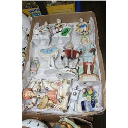 Flat with Assorted Figurines & 1 Small Coalport China Floral Arrangement