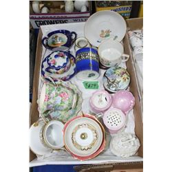 Flat with Assorted Dishes (Cups, Sugar Bowls, Creamers & a Popeye Cup & Saucer)