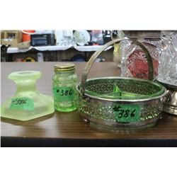 Silver Holder/Tray with Green Divided Glass Insert; Green Depression Glass Shaker & Candleholder