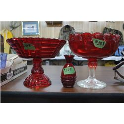 2 Red Pedestal Bowls & 1 Small Red Vase