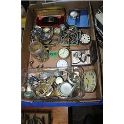 Box with Watch Parts, Bracelet Pins, Pocket Watch Cases (Some have interesting wording), etc.