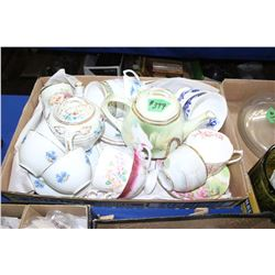 Box of Assorted Tea Cups, Saucers & Teapots