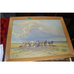 Framed Oil Painting of Horses by B. T. Smith (1954)