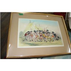 Framed Hand Painted Picture of Native Americans in Powwow - Catlin.Del on Stone by McGahey
