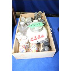 Box with Salt & Pepper Shakers (Glass, Metal & a Chintz Set)