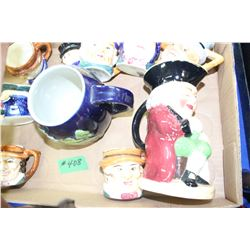Box with Toby Jugs (9) and 1 Large Decorated Coffee Mug