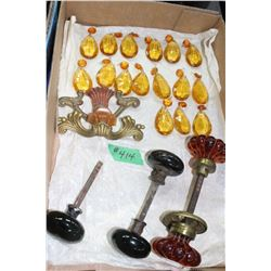 Box of Amber Chandelier Crystals; 2 Drawer Pulls with Bakelite Accessories; Amber Glass Door Knobs &