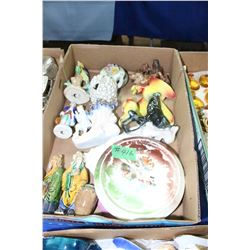 Box of Assorted Figurines; 2 Chinese Mud Men & 4 Trivets