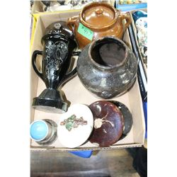 Flat with Small Bean Pot; Crockery Vase; Crockery Lid & a Black Amethyst Trophy