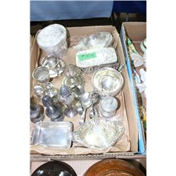 Flat with Silver & Silver Plate Items - Sm. Dishes, Baby Spoons, Salt & Peppers, etc.