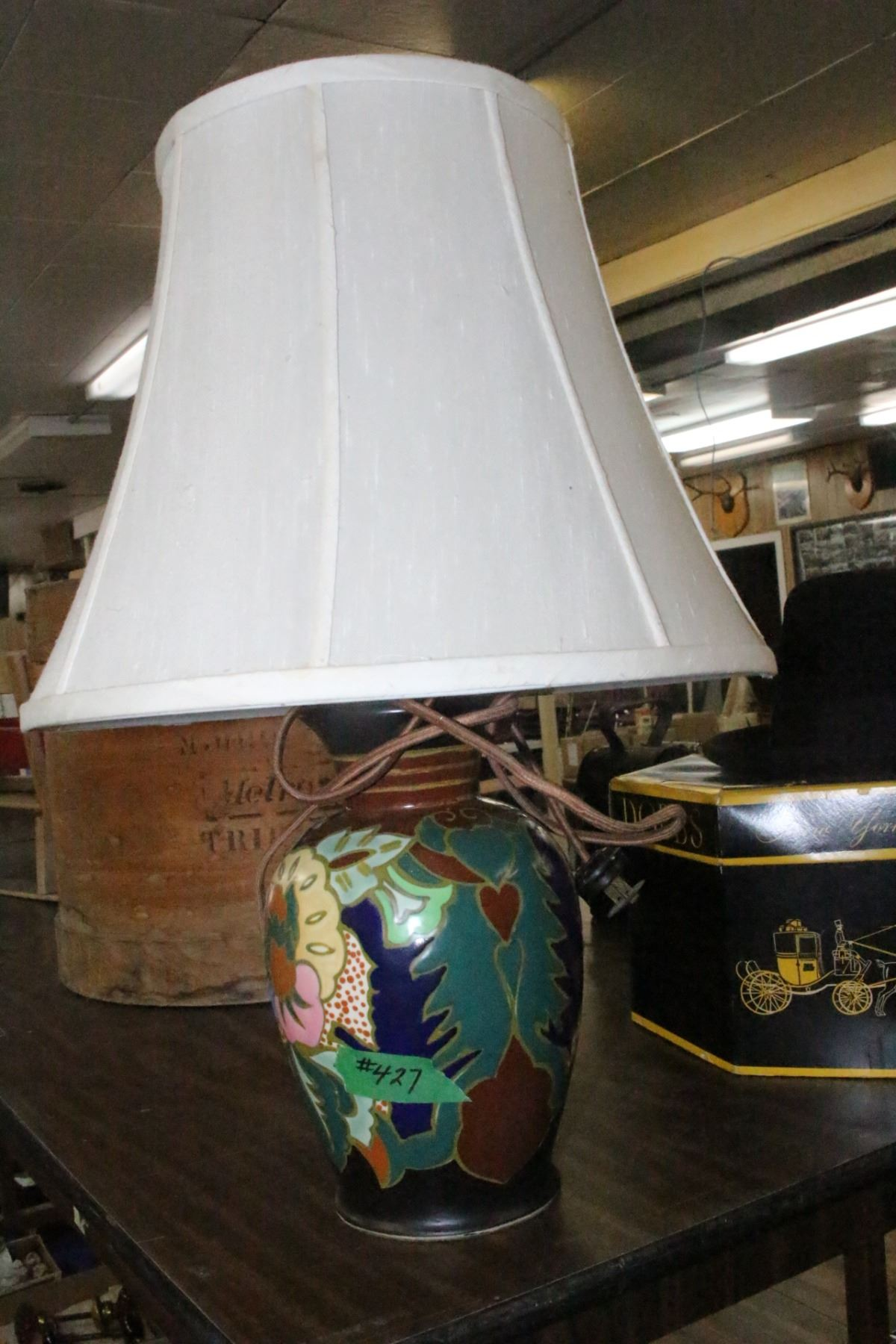 Table Lamp With Colourful Ceramic Base Shade Is In Good Condition