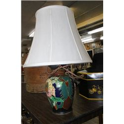 Table Lamp with Colourful Ceramic Base - Shade is in Good Condition