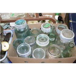 Box with Blue/Green Jars & Bottles (Qts, Pints, etc.)   ***Heavy