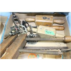 Box with Spoke Sharpeners; Threaders & a Wood Vice
