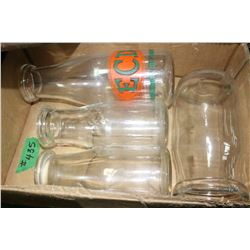 Box with 4 Milk Bottles - ECD (Edmonton City Dairy), etc.