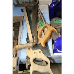 Collection of (2 Hand Saws, Miter Box, Saw & Draw Knife)