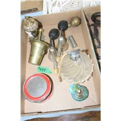 Box with Atomizers, Lighters, Brass Mortar & Pestle & a Shaving Mirror