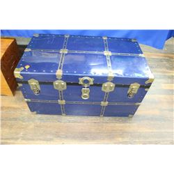 Large Blue Metal Trunk - with Tray