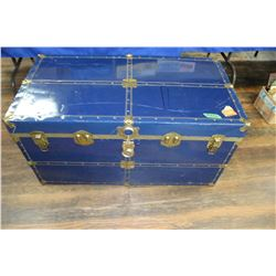 Large Blue Metal Trunk - No Tray