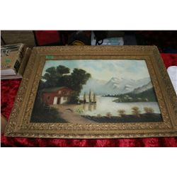 Large Ornate Framed Oil Painting - Switzerland Landscape - by G.A. Braun? (Has some damage)