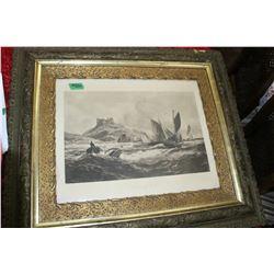Ornately Framed Black & White Picture of Bamborough Castle