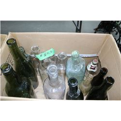 Box with Assorted Bottles - Brown, Clear & Green
