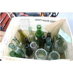 Box with 17 Assorted Coloured Bottles   ***Heavy