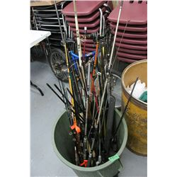 Garbage Can of Fishing Rods & Part Rods