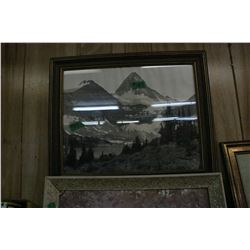 Framed Black & White Picture of Mountain Landscape