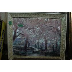 Framed Oil Painting of Trees