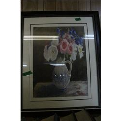 Framed & Matted Print of Flowers in a Vase