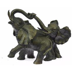 Real Bronze of Two Baby Elephants