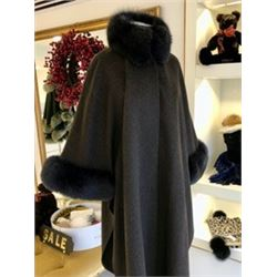 brown wool cape with matching fox trim from Finland on the collar and cuffs