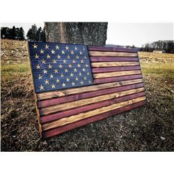 The American Flag in wood supporting Humanitarian Services