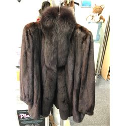 Ladies Female Natural Mahogany Mink with Brown Fox collar Jacket (Details being finalized. Open soo