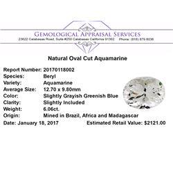6.06 ct.Natural Oval Cut Aquamarine
