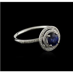 14KT White Gold 0.97 ctw Sapphire and Diamond Ring